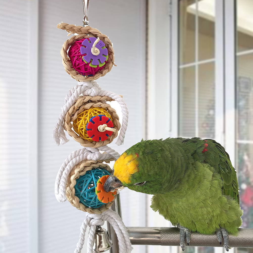 Pet Bites Parrot Bird Climb Chew Toys Bell Swing Cage Hanging Cockatiel Parakee