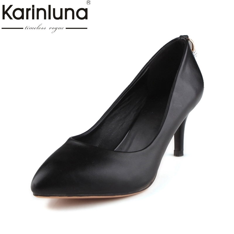 KARINLUNA Office Lady Pumps 2017 Brand Shoes Woman Sexy High Heels Pointed Toe Slip On Less Platform Pump Shoes Big Size 33-43 karinluna big size 31 47 office lady shoes women med heels slip on elegant round toe dating woman pumps pink black