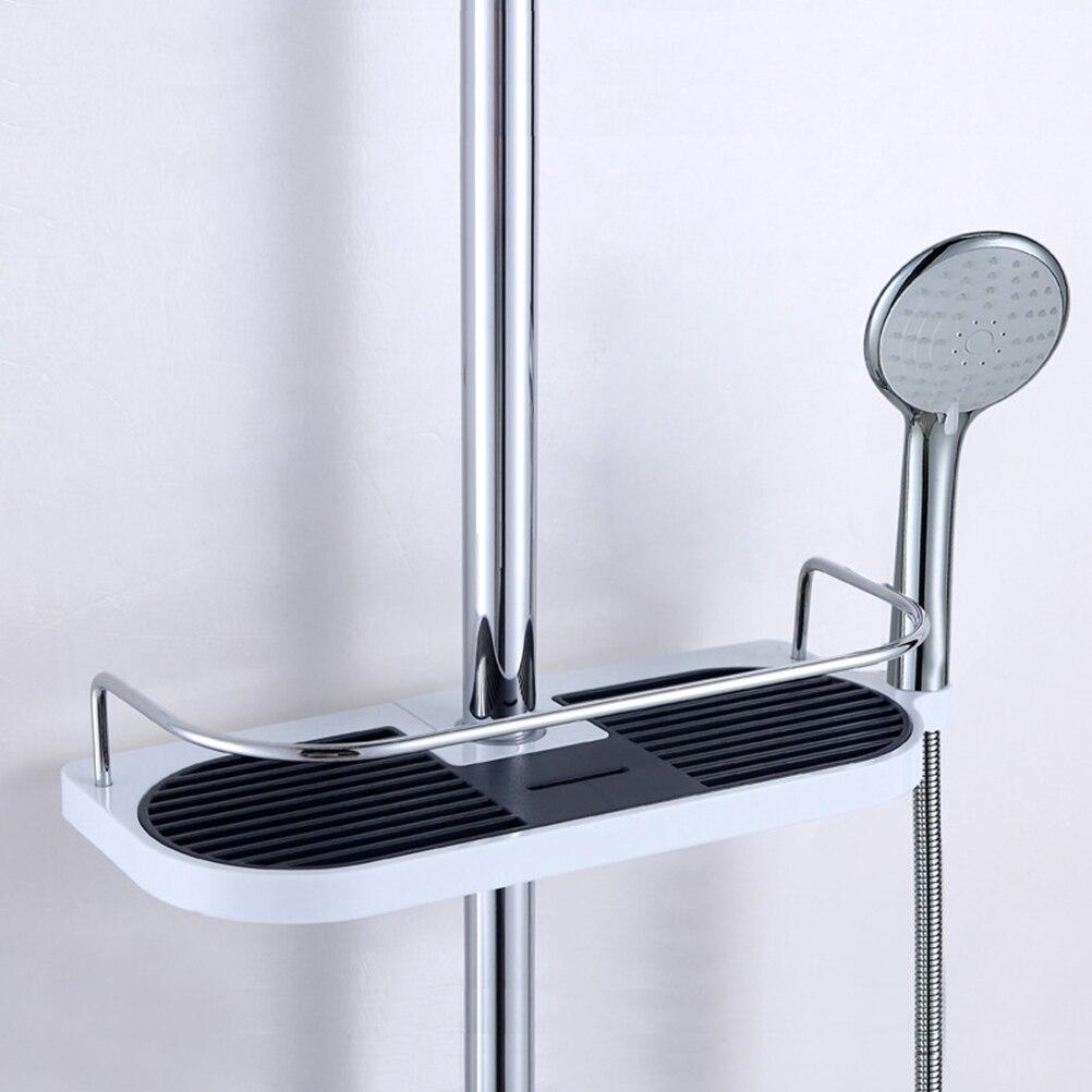Shower Bar Soap No Drill Shampoo Organizer Basket Holder Showerhead holder for Bathroom (Fit 7 Sizes of Shower Rods)