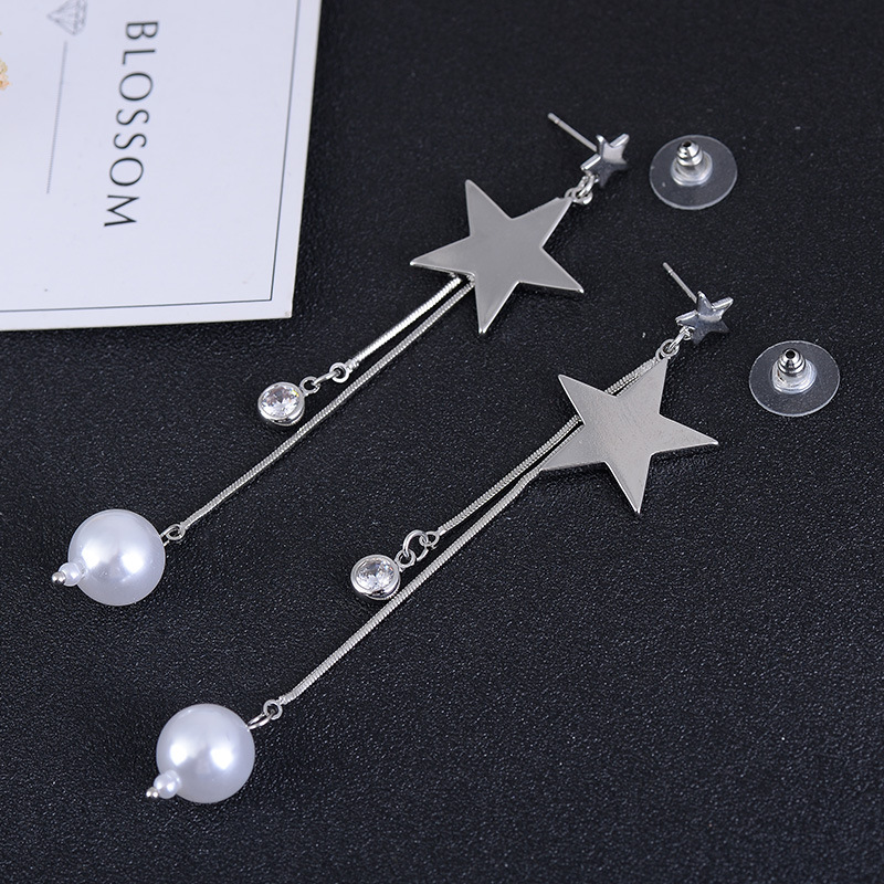 Grace Jun New Creative Simulated Pearl Five-pointed Star Tassel Dangle Earrings for Women Party Elegant Earrings Christmas Gift