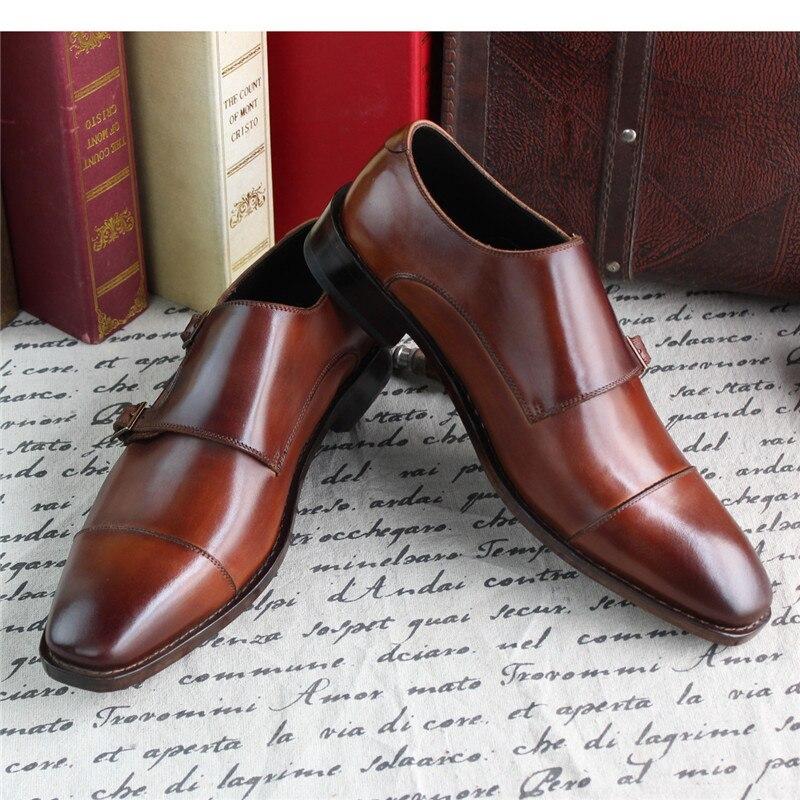 ddb90d00 Monje Hecho Nuevo Medida Zapatos Doble Formal Correa Para Goodyear Maloneda  Los A Cuero Hombres De Patente Marrón Mano Y6gyf7bv