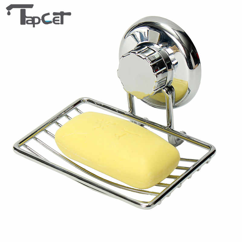 TAPCET Home Powerful Suction Cup Soap Dish Holder Metal Wall Mount Square Soap Tray Holder Bathroom Shower Soap Storage Box mymei natural wood tray holder bath shower plate bathroom diy wooden soap dish storage