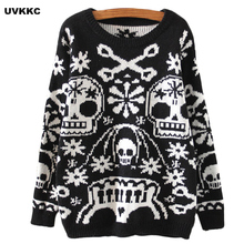 UVKKC Women Pullovers Skull Design Female O Neck Outwear Loose Black Sweater Solid Cotton Loose Knitted Casual Pullovers Sweater
