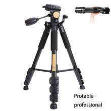 QZSD Q111 Professional Portable Aluminum alloy Camera Tripod with Q08 Rocker Arm Ball Head for Canon Nikon Sony SLR Camera