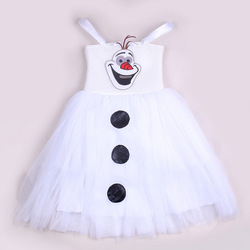 Toddler Snowman Frozen Olaf Costume Kids Girls Baby Tulle Gown Tutu Dresses Outfits
