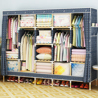 LK 573 твердой древесины + ткань Оксфорд шкафы см шкаф для одежды см Широкий 210 сборки King Размеры простой шкаф с вешалка ткань Orgnizer