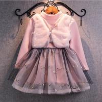 Bear Leader Grils Dress 2016 New Winter Dresses Children Clothing Princess Dress Pink Long Sleeve Wool