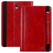 Samsung Tab için S4 T830 Retro Kitap Deri Kılıf Cüzdan Kart Standı Akıllı Kapak için Samsung Galaxy Tab 10.5 T835 kalem Yuvası ile