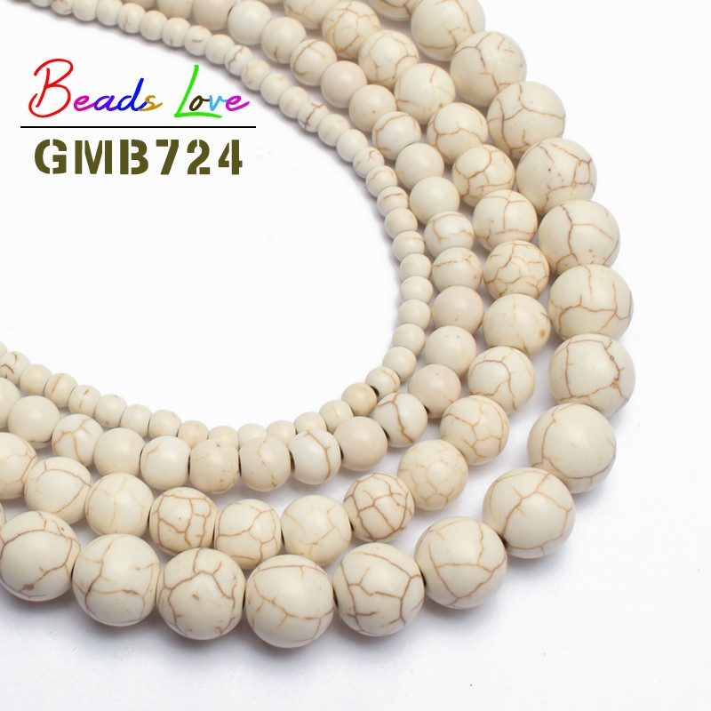 Hot Sale Wholesale White Turquoises Round Loose Beads For Jewelry Making Natural Stone Beads Diy Bracelet 6 8 10 12mm 15 inches