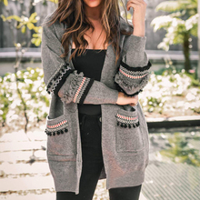 Autumn  Women Patchwork  Long Sleeve Casual Solid Color Cardigan Women Sweater Coat sweet solid color collarless long raglan sleeve cardigan for women