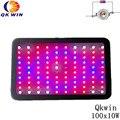 Qkwin 1000 Вт Гидропоника светодиодный светильник для выращивания 100X10W светильник для дома с двойным 5 Вт чипом светодиоды высокая производител...