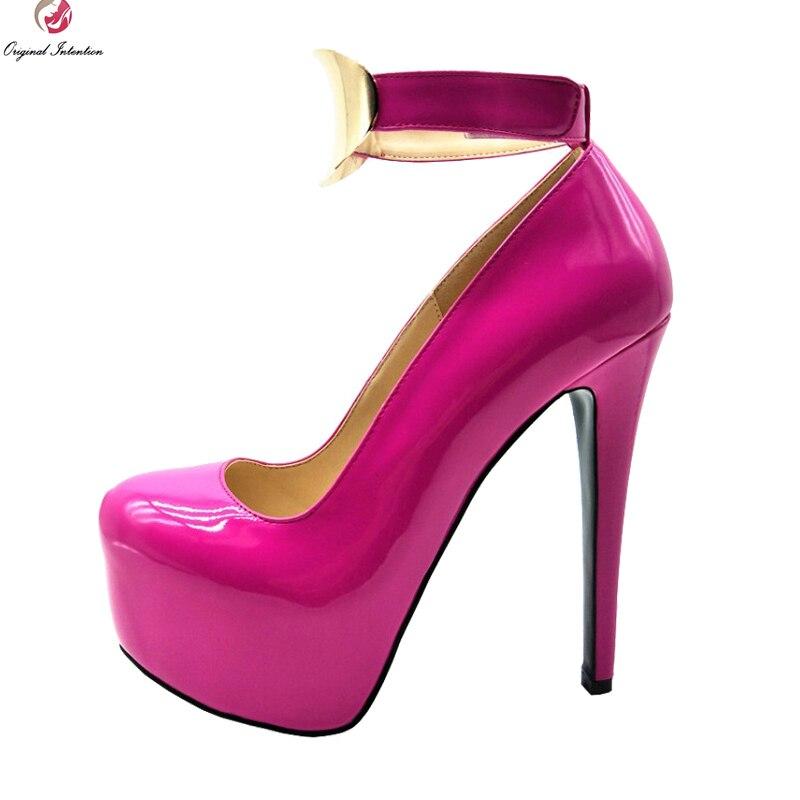 Original Intention Super Sexy Women Pumps Round Toe Thin High Heel Pumps Blue Green Rose Pink