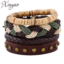 XINYAO 4pcs/lot Multilayer Genuine Leather Mens Bracelet Male Jewelry Bohemian Fashion Punk Vintage Leather Wrap Charm Bracelets(China)