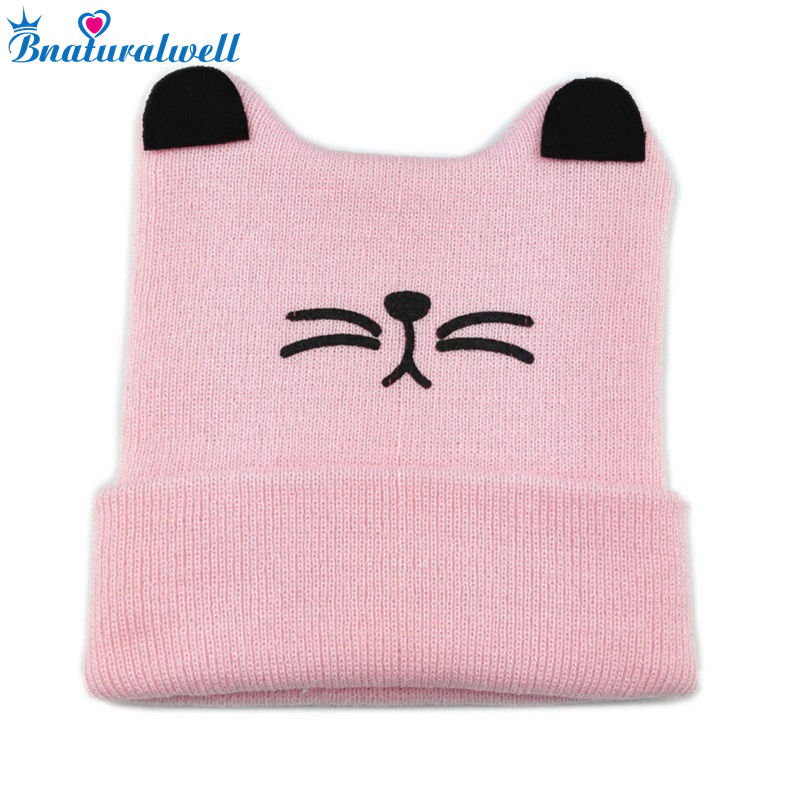 Bnaturalwell Cute Cat Knitted Baby Caps Knitted Beanies Toddler Winter hats Baby boys girls warm hat Newborn shower gift H039 newborn kids skullies caps children baby boys girls soft toddler cute cap new sale