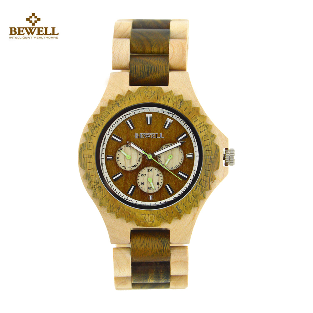 BEWELL Wood Watch Men Top Luxury Wooden Fashion Men Watches Dismountable Casual Male Quartz Watch With box relogio masculino ultra luxury 2 3 5 modes german motor watch winder white color wooden black pu leater inside automatic watch winder