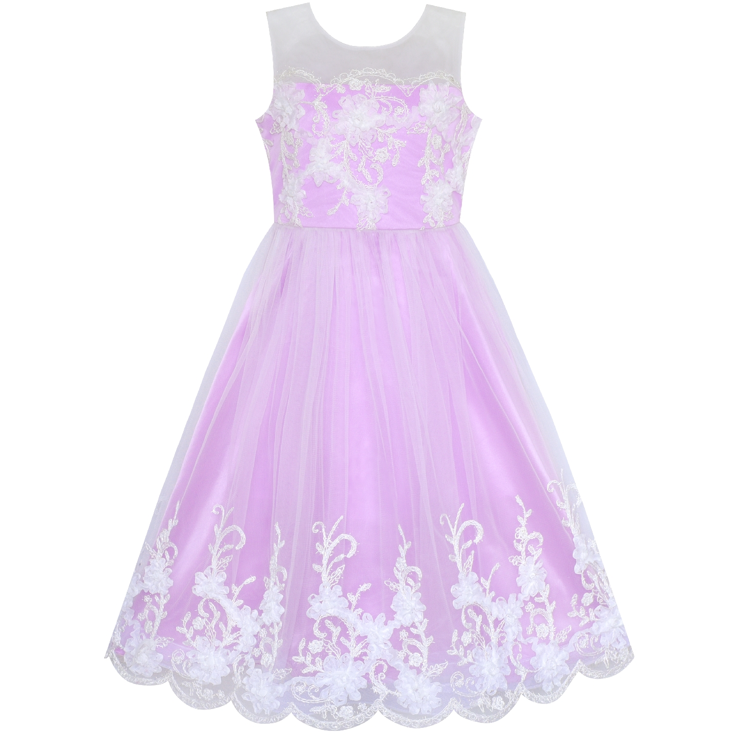 Flower Girls Dress Purple Illusion Shoulder Wedding Pageant 2019 Summer Princess Party Dresses Kids Clothes Sundress Vestidos girls dress blue flower bow tie tulle party princess 2018 summer wedding dresses kids clothes size 4 12 pageant sundress