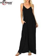 f72f85fdefa2 Women Long dress Female Summer V Neck Spaghetti Strap Plain Flowy Pockets  Loose Beach Cami Maxi Dress Casual Sundress Robe Femme