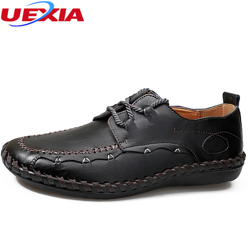 UEXIA Men Shoes Black Cow Leather Mocassins Men Loafers Slip On Formal Oxford Dress Casual Fashion Flats Hand-sewn Breathable 2017 new spring imported leather men s shoes white eather shoes breathable sneaker fashion men casual shoes
