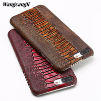 Wangcangli Real cowhide phone case for iPhone 7 ostrich foot texture phone case Genuine leather half pack phone protection case