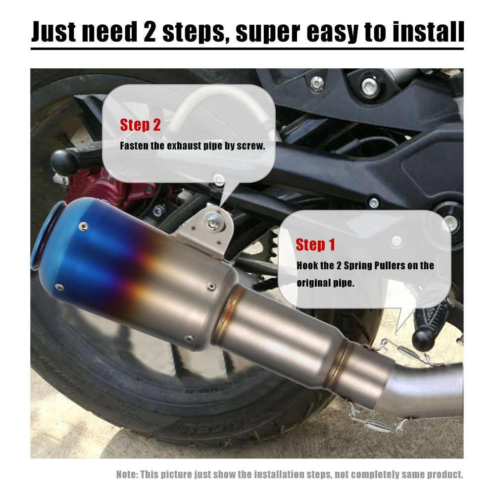 Tubo silenciador de escape de scooter de motocicleta 51mm reajuste tubo de cola de escape extendido de acero inoxidable Universal para motocicleta ATV