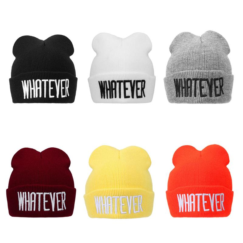 Winter Solid Color Cap for Kids Baby Fashion Children Comfortable Knitted Hat Letters Embroidered Cap Warm Beanie for Boy Girls