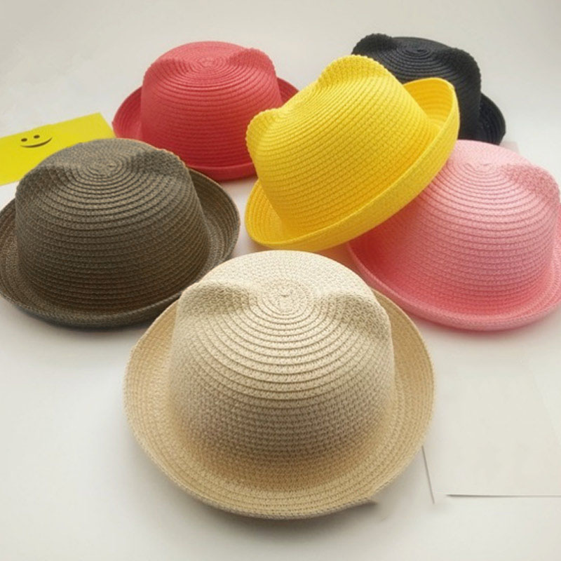 Newly Fashion Girls Boys Straw Hats Summer Baby Sun Hat Lovely Children Solid Floppy Cat Ears Decor Cap M99