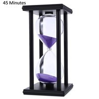 Stylish Ornament 45 Minute Sand Hourglass Countdown Timing Modern Wooden Sandglass Sand Clock Timer Home Decoration