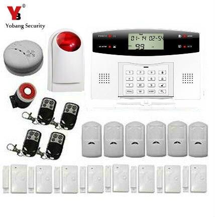 YoBang sécurité 433 MHZ espagnol son ltalien GSM composition automatique bureau système d'alarme antivol détecteur d'incendie de fumée + capteur PIR