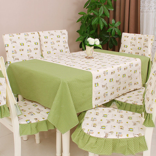 Modern Pastoral Printed Dining Table Cloth Rectangle Dining Table Chair  Cover Set Square Table Cover Furniture