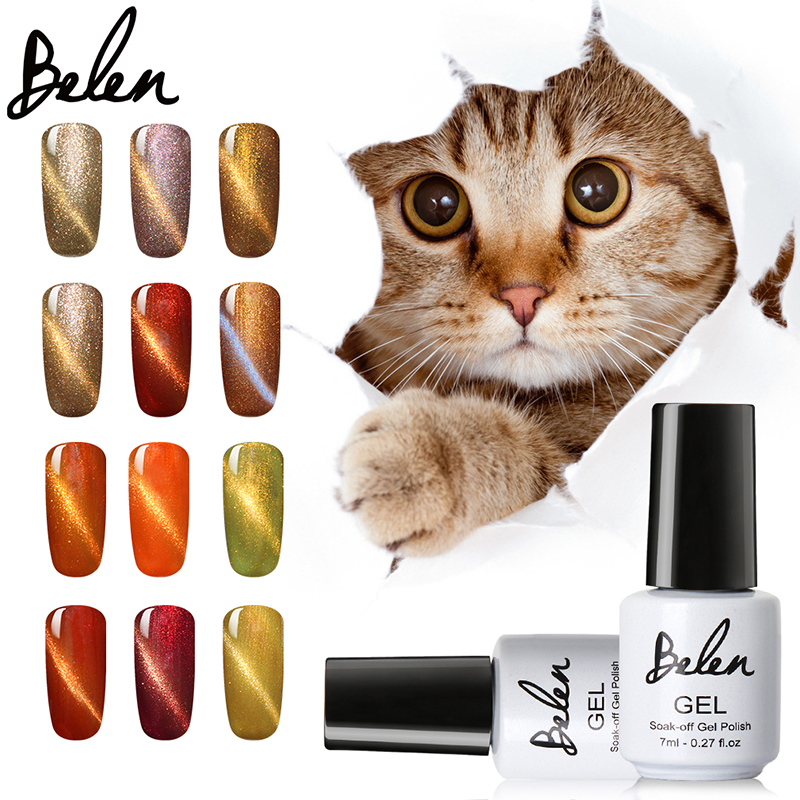 Belen Cat'S-Eye Gel Nail Polish LED Cat Eye Gel Fargerikt UV Nail Gel Farger Frakk UV Base Coat Magnet Effekt Magnetisk Gel Lacquer