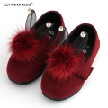 CCTWINS KIDS spring autumn children bunny fashion shoe for toddler rhinerstone slip-on baby girl brand flat pu leather green
