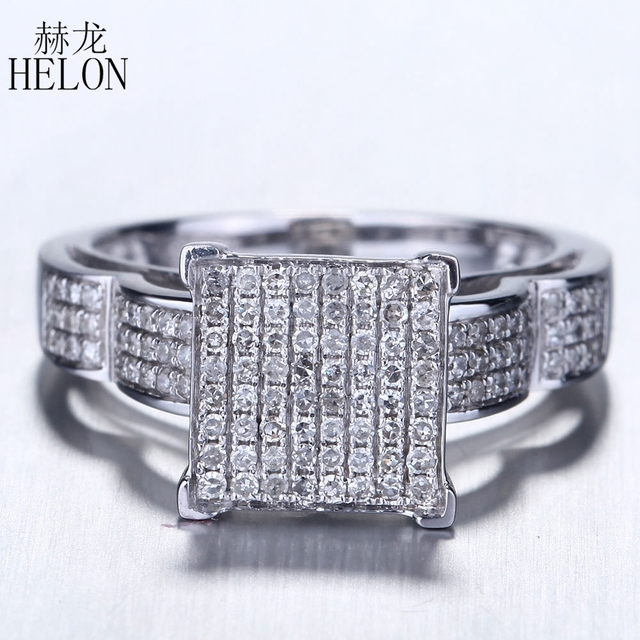 HELON Sterling Silver 925 Engagement Wedding 0.46CT Pave Natural Diamonds Top Fine Ring Men Noble And Generous Ring Fine Jewelry