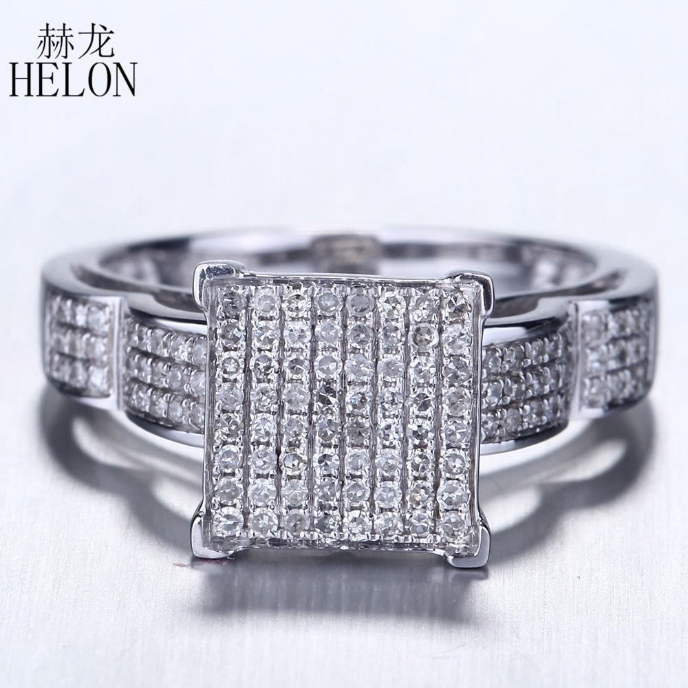 HELON argent Sterling 925 fiançailles mariage 0.46CT pavé de diamants naturels haut bague Fine hommes Noble et généreux anneau bijoux fins-in Anneaux from Bijoux et Accessoires    1