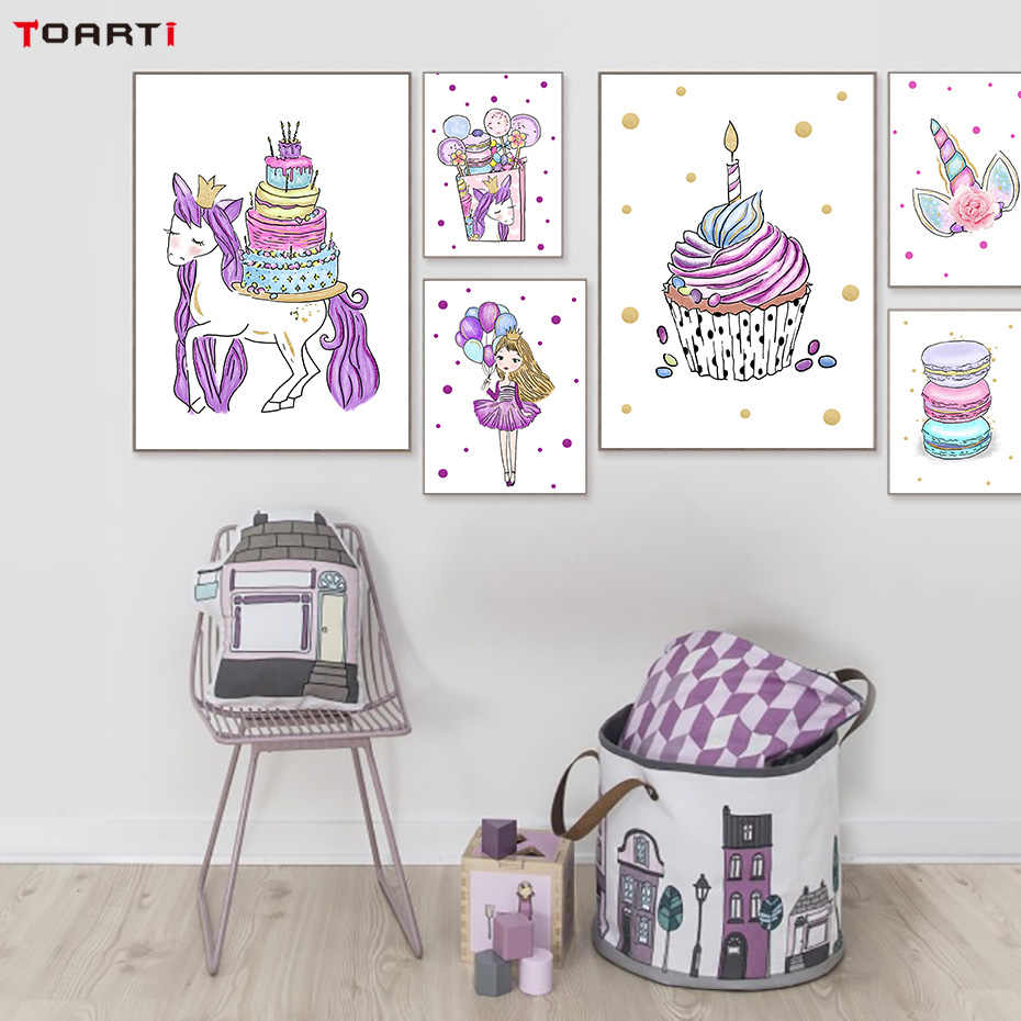 Carton Unicorn Posters Prints Funny Girls Canvas Painting On The Wall For Kids Nursery Room Home Decor Modern Art Pictures