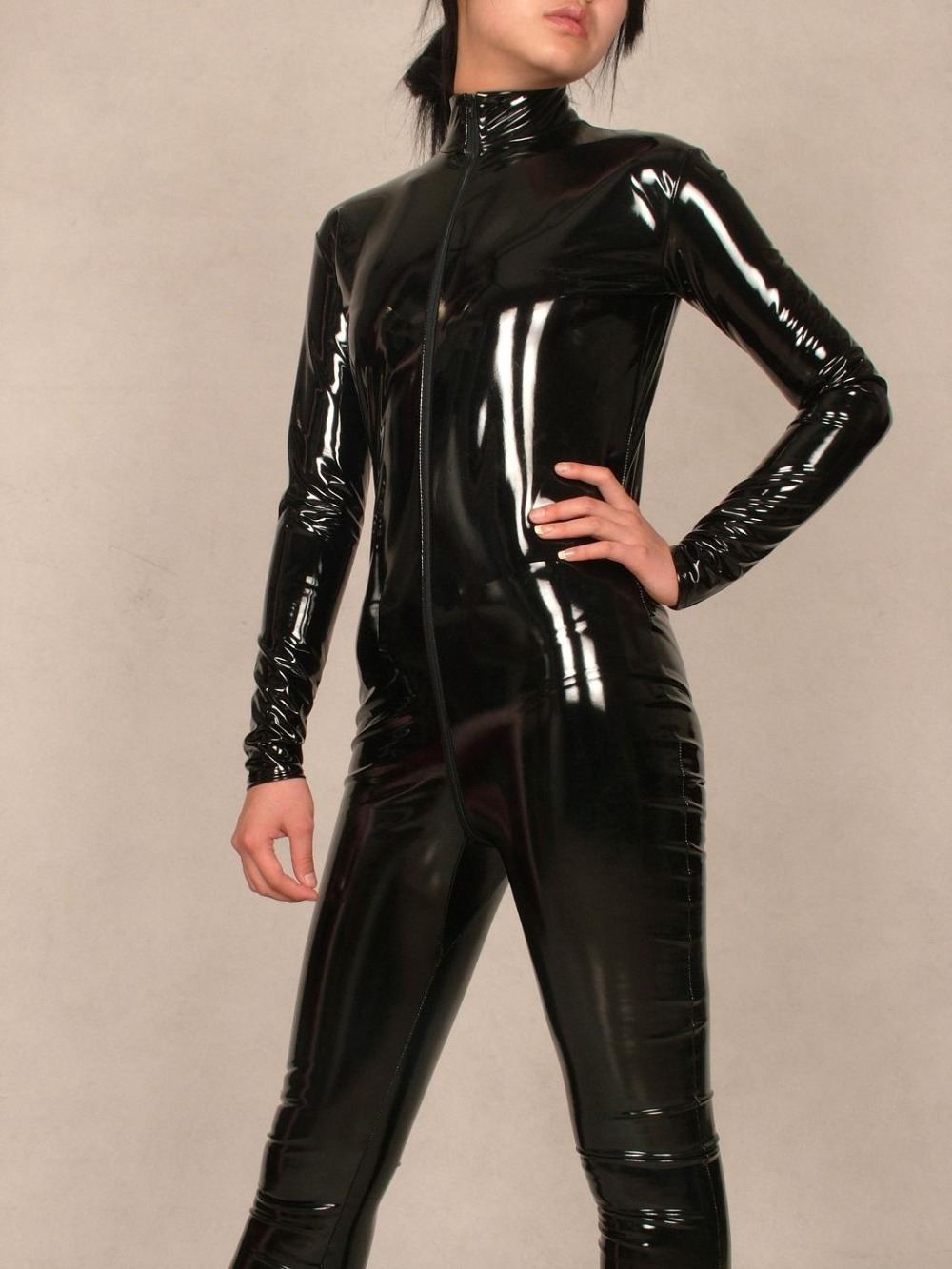 BLACK Pvc bright paint leather sexy Suit full body tights Costumes-Super  smooth sexy