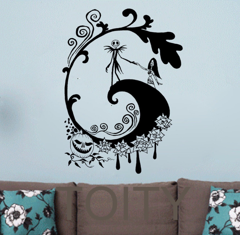 The nightmare before christmas wall sticker halloween for Christmas wall mural plastic