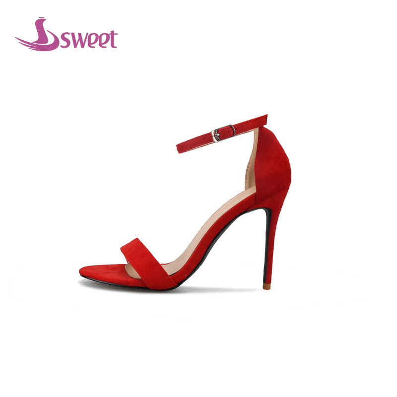 sweet Brand womens shoes woman sandals Ankle-Wrap Flock Buckle Solid Cover Heel Thin Heels Buckle Elegant Party A65 brand new sale fashion low fretwork heels rhinestone women party shoes elegant sweet ankle buckle strap lady top quality sandals