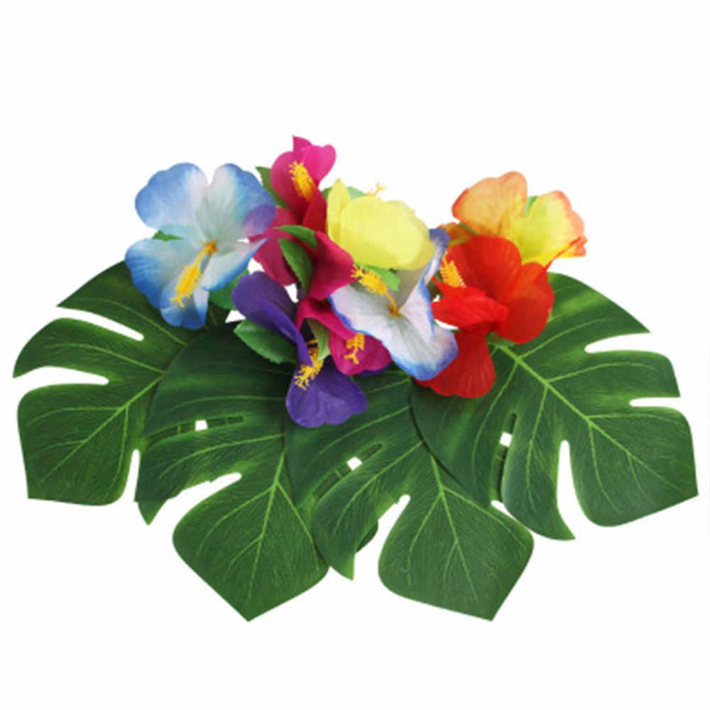 12 pz/lotto Estate Tropical Party Artificiale Foglie di Palma Luau Hawaiano Del Partito Giungla Tema Della Spiaggia di trasporto Decorazione Del Partito Hawaii