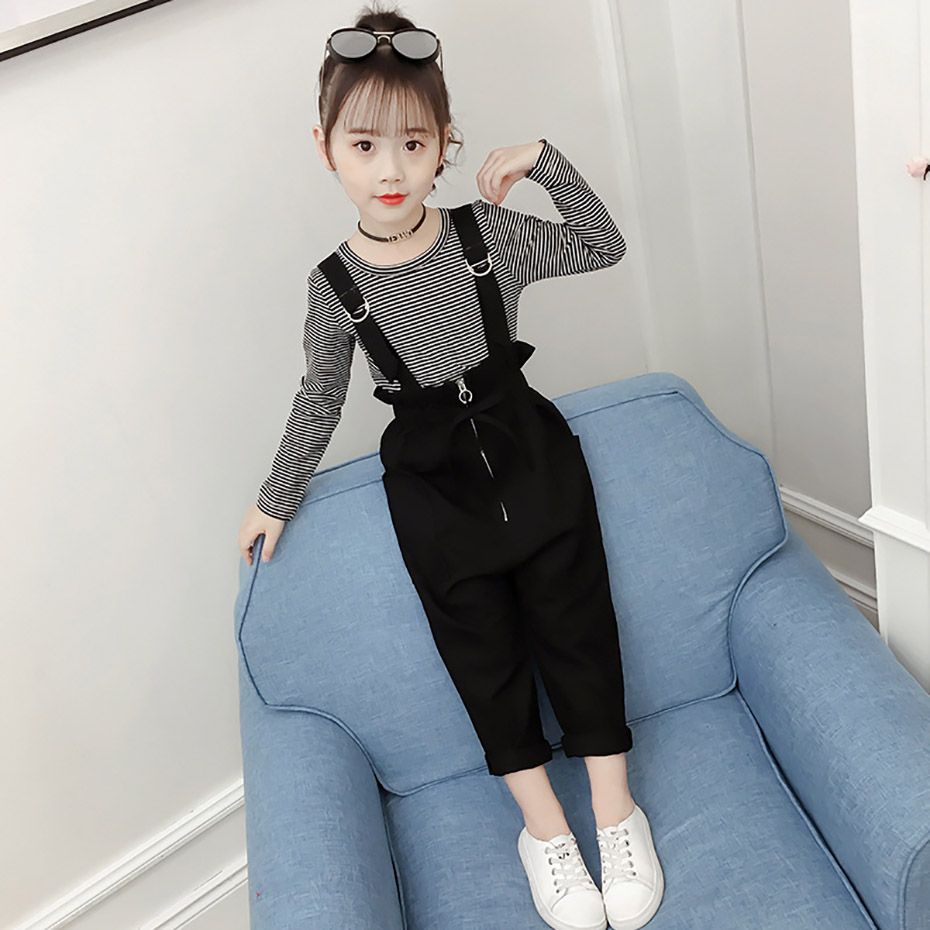 Spring Garments Set For Ladies 2019 Youngsters Garments Swimsuit Striped Kids's Costumes Teenage Child Lady Clothes 6 8 12 Years Autumn Clothes Units, Low-cost Clothes Units, Spring Garments Set...