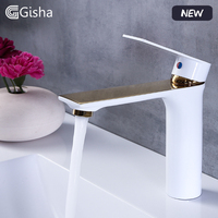 Gisha New Basin Faucet Water Tap Bathroom Faucet Solid White Brass Cold & Hot Water Single Handle Water Sink Tap Mixer G1101