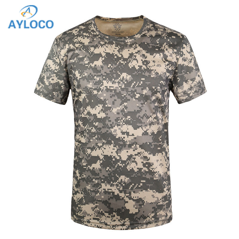 Hospitable New Camouflage T-shirt Men Breathable Army Tactical Combat T Shirt Military Dry Camo T-shirts T-shirts