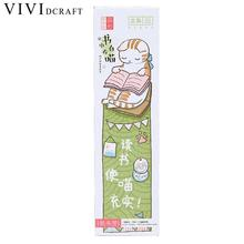 Vividcraft School Supplies 30 pcs/lot Cute Funny Cat Shaped Paper Bookmark Gift Stationery Film Bookmarks Book Holder Messages