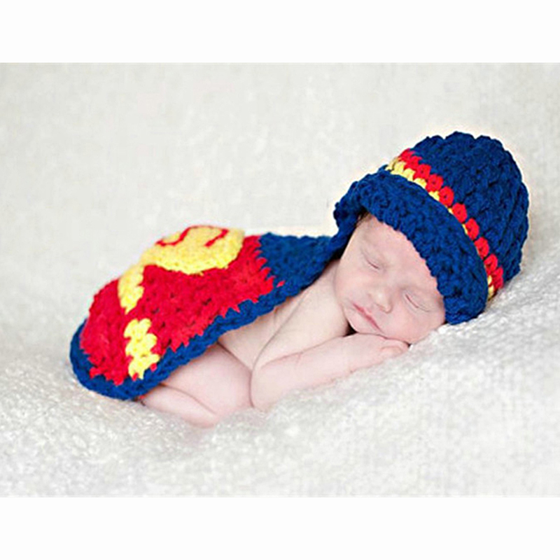 Superman Baby Hat Set Cotton Newborn Beanies Photography Props Knit Caps For Newborn Boys Girls Infant Photography Accessories