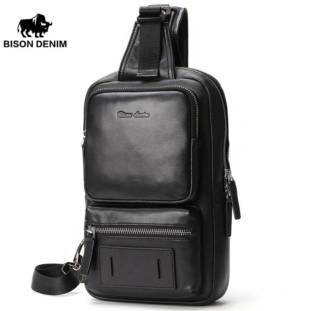 все цены на BISON DENIM Cowhide Leather Crossbody Bags Zipper Men Messenger Bag Large Capacity Sling Bag Fashion Chest Bags N2693-1B