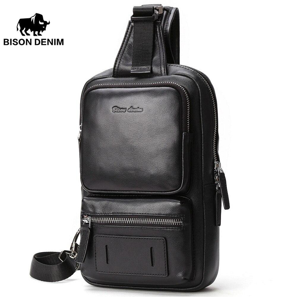 BISON DENIM Cowhide Leather Crossbody Bags Zipper Men Messenger Bag Large Capacity Sling Bag Fashion Chest Bags N2693-1B slim fit design mega storage capacity holster shape chest bag for men armpit oxter sling bag
