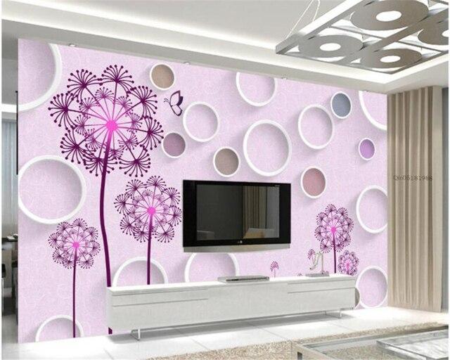 Dekorative Bilder Wohnzimmer ~ Beibehang dekorative tapete d dreidimensionale löwenzahn rosa