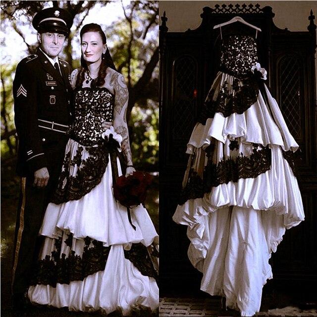 Gothic Wedding Dresses 2016 A Line Strapless Black Taffeta: Mariage Gothique