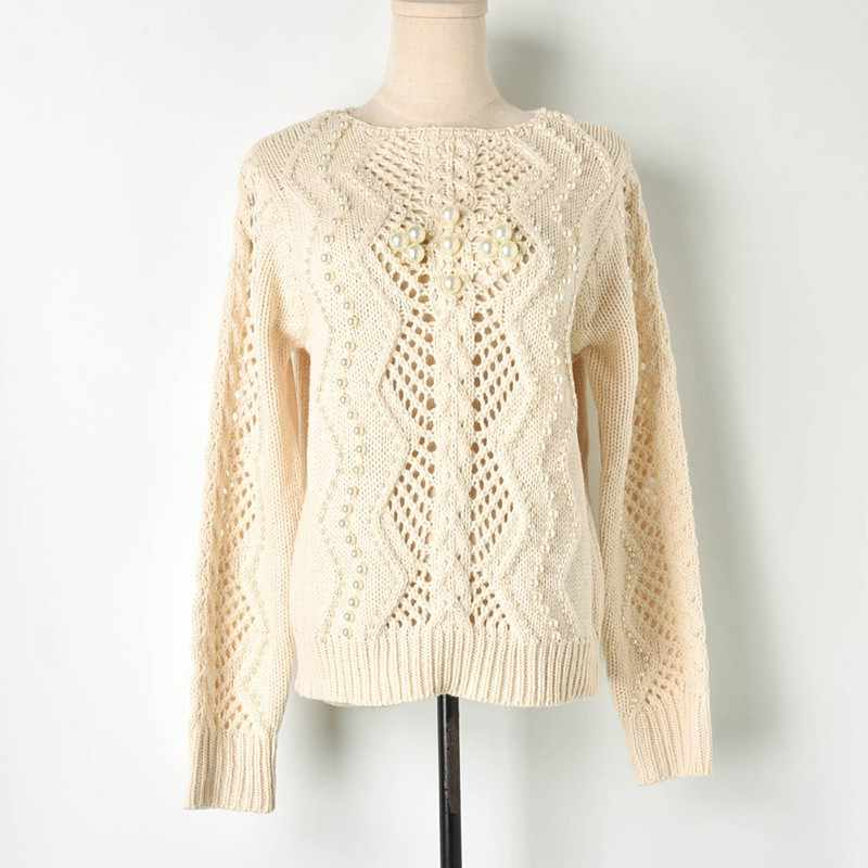 995cebc724a 2019 Spring Women Runway Pullovers Sweaters Luxury Beige crocheted Tops  sexy Ladies Knitted Jumper hand beading Clothing C-056