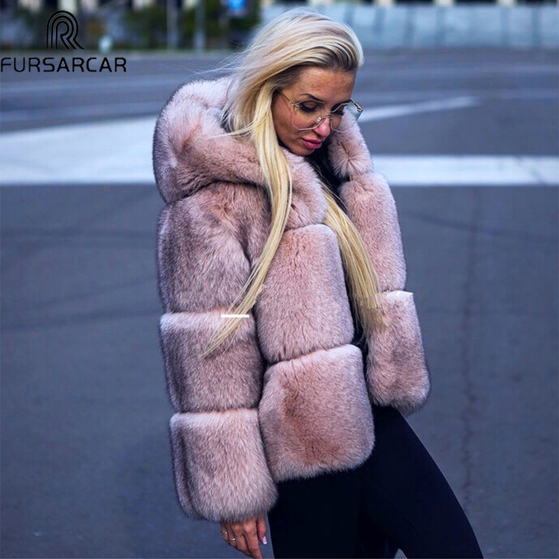 FURSARCAR Full Plet Fox Powder Orange 2019 Women Fox Fur Luxury Solid Thick Warm Fur With Fur Hood New Winter Real Fur Coat