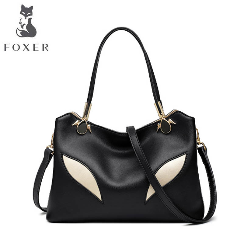 FOXER 2018 New Women Leather bag designer famous brand women Cowhide bag fashion Casual big capacity leather shoulder bag foxer 2018 new women leather bag designer fashion women famous brand cowhide small tote bag women leather shoulder bags